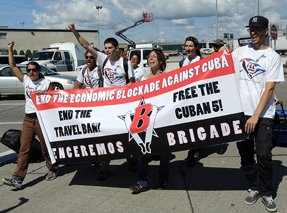 5 August 2013: A group of the Venceremos Brigade crosses the International Peace Bridge into Buffalo, NY
