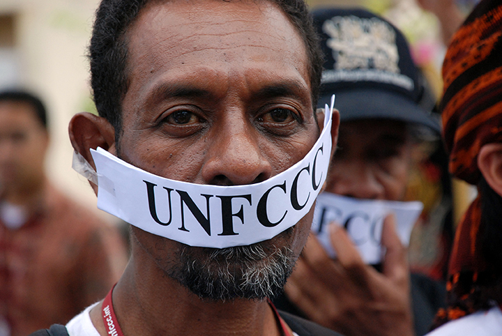 19  Indigenous man protests at UN Climate Convention (UNFCCC), Bali, Indonesia