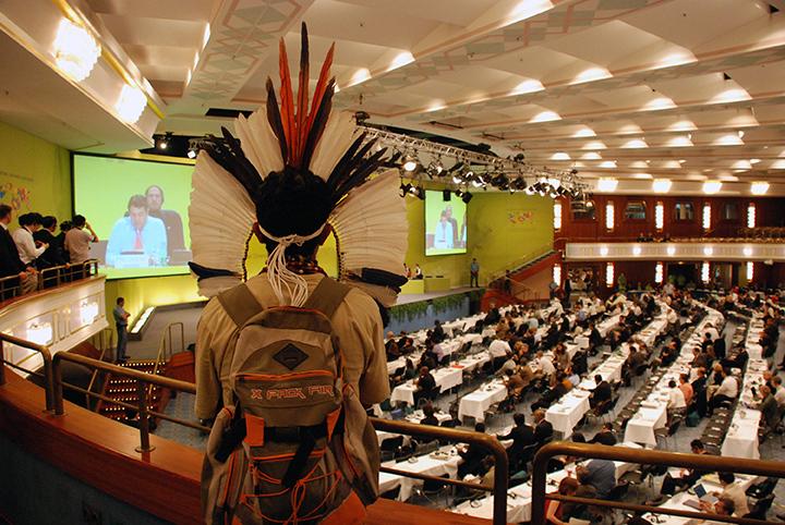 27 Indigenous man watches UN Biodiversity Conference, Bonn, Germany